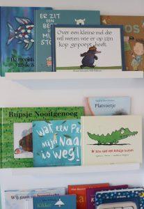 De boekenplankjes in spruits kamer